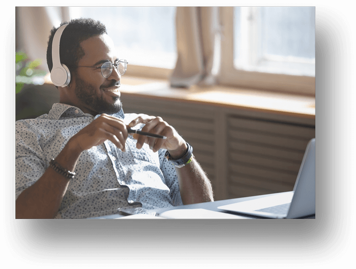 African-Man-with-Headphones-Talking